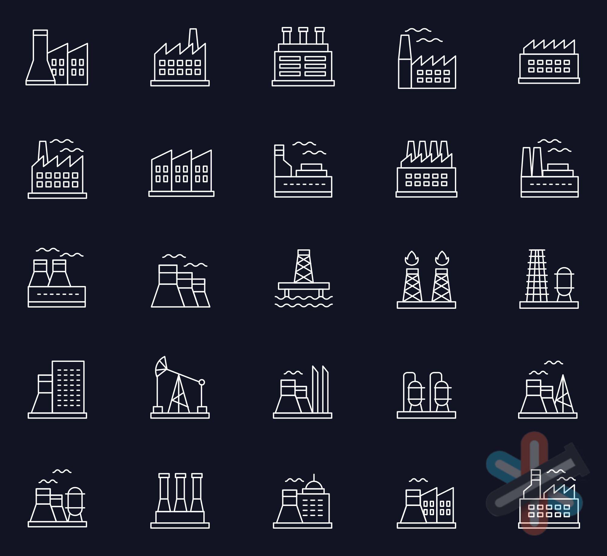 دانلود آیکون های صنعت و معدن برای Adobe Illustrator 1