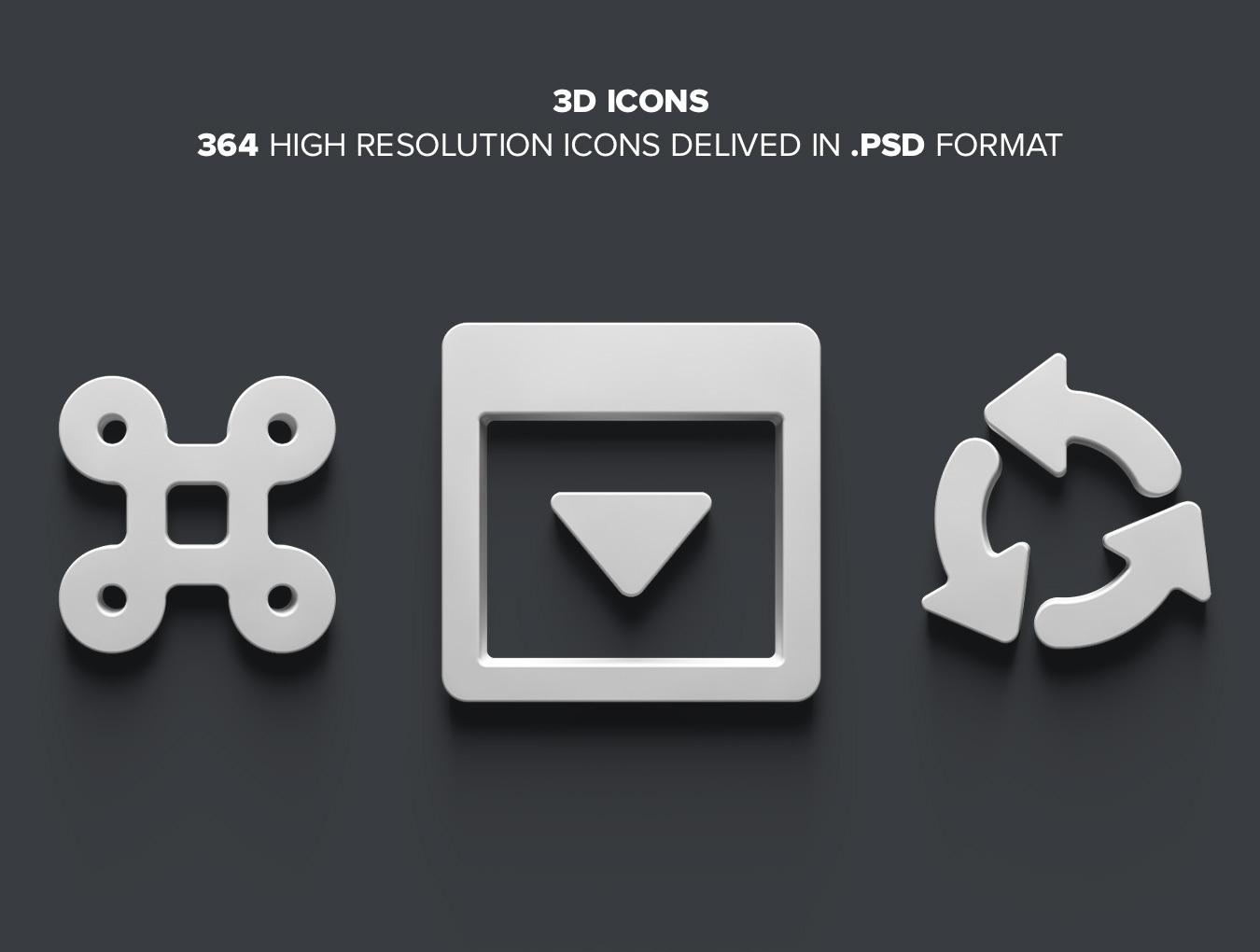 مجموعه 364 آیکون سه بعدی برای فتوشاپ 1