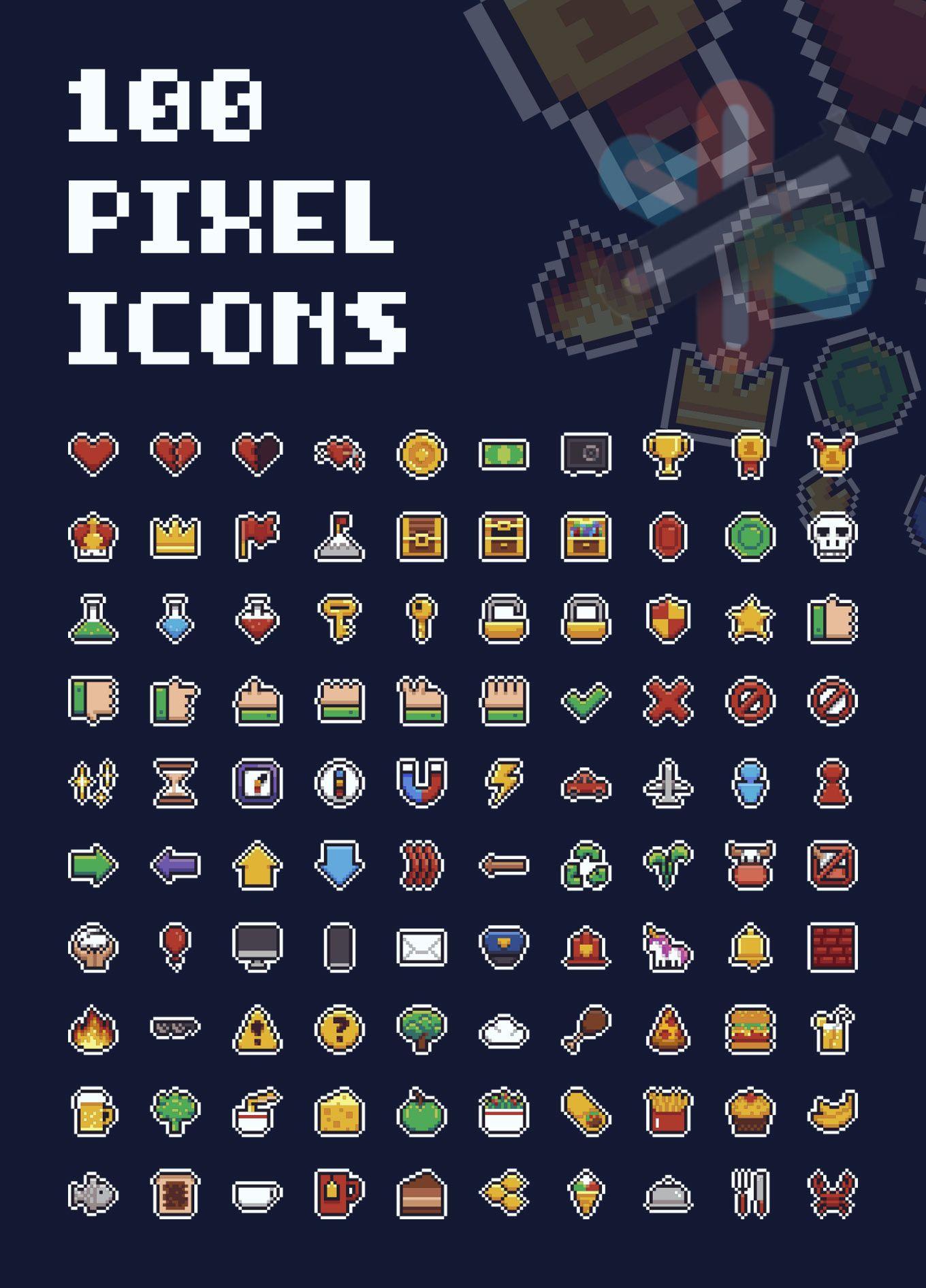 مجموعه آیکون های پیکسلی بازی ماریو