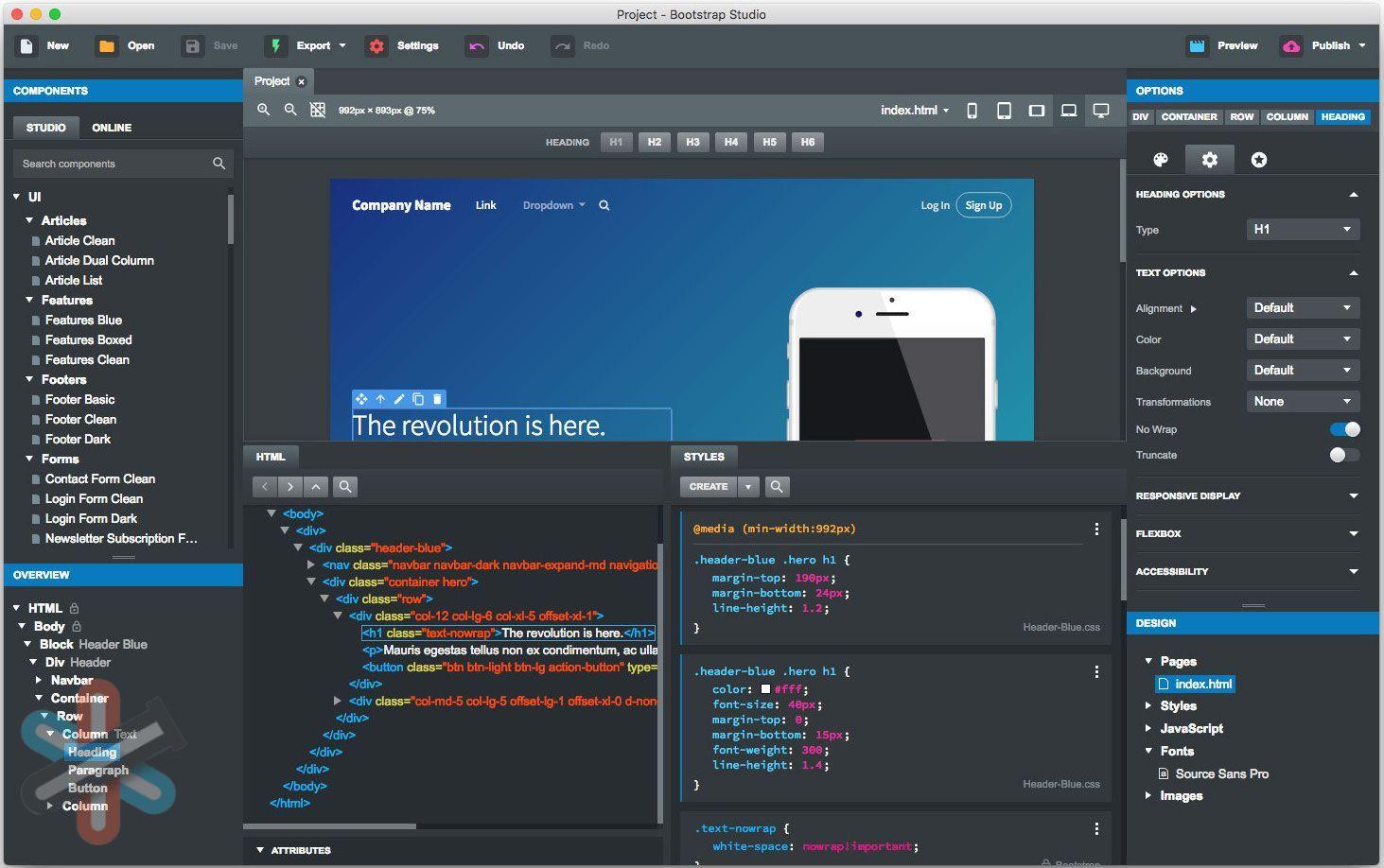 دانلود نرم افزار Bootstrap Studio 5.4.0 Pro – طراحی سایت ریسپانسیو