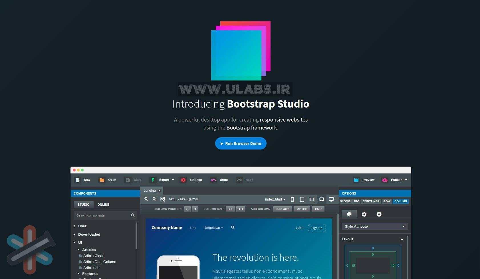 دانلود نرم افزار Bootstrap Studio 5.1.1 Pro – طراحی سایت ریسپانسیو